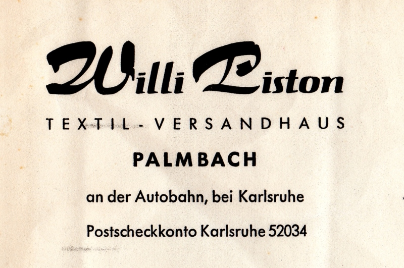 Willi Piston Textil-Versandhaus 1956